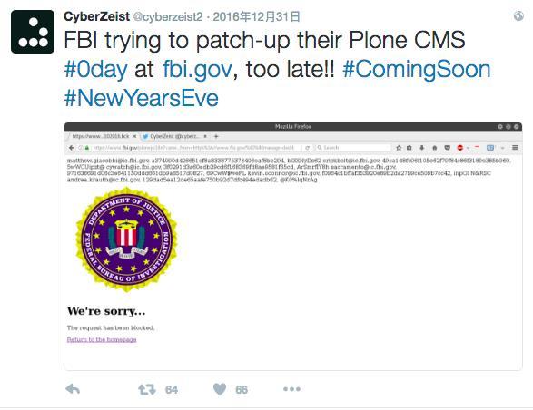 FBI网站被入侵 数据被公然后遭黑客嘲讽